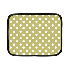 Lime Green Polka Dots Netbook Case (Small)