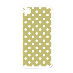 Lime Green Polka Dots Apple iPhone 4 Case (White)