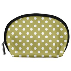 Lime Green Polka Dots Accessory Pouches (Large)