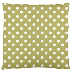 Lime Green Polka Dots Large Flano Cushion Cases (Two Sides)