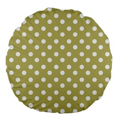 Lime Green Polka Dots Large 18  Premium Flano Round Cushions