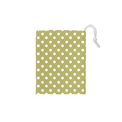 Lime Green Polka Dots Drawstring Pouches (XS)