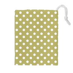 Lime Green Polka Dots Drawstring Pouches (extra Large)