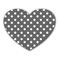 Gray Polka Dots Heart Mousepads
