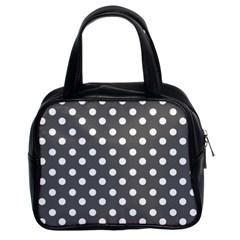 Gray Polka Dots Classic Handbags (2 Sides)