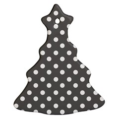 Gray Polka Dots Christmas Tree Ornament (2 Sides)