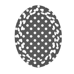 Gray Polka Dots Ornament (oval Filigree)