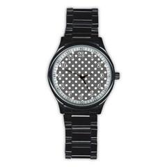 Gray Polka Dots Stainless Steel Round Watches