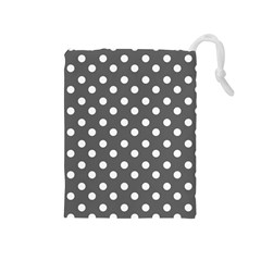 Gray Polka Dots Drawstring Pouches (medium)