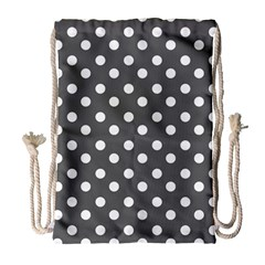 Gray Polka Dots Drawstring Bag (Large)