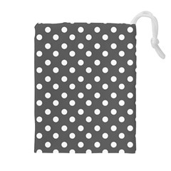Gray Polka Dots Drawstring Pouches (extra Large)
