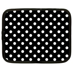Black And White Polka Dots Netbook Case (Large)