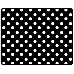 Black And White Polka Dots Fleece Blanket (medium)