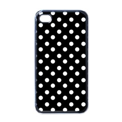 Black And White Polka Dots Apple iPhone 4 Case (Black)