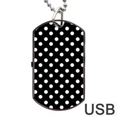 Black And White Polka Dots Dog Tag USB Flash (One Side)
