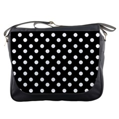 Black And White Polka Dots Messenger Bags
