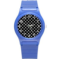 Black And White Polka Dots Round Plastic Sport Watch (S)