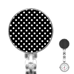Black And White Polka Dots Stainless Steel Nurses Watches