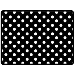 Black And White Polka Dots Double Sided Fleece Blanket (Large)
