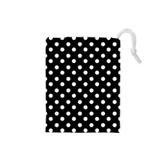 Black And White Polka Dots Drawstring Pouches (Small)