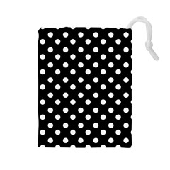 Black And White Polka Dots Drawstring Pouches (Large)