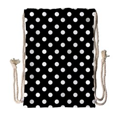 Black And White Polka Dots Drawstring Bag (large)