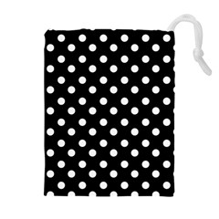Black And White Polka Dots Drawstring Pouches (extra Large)