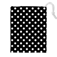 Black And White Polka Dots Drawstring Pouches (XXL)