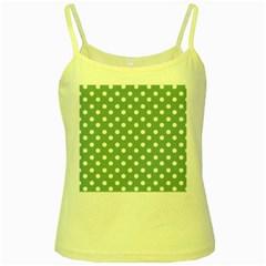 Mint Green Polka Dots Yellow Spaghetti Tanks