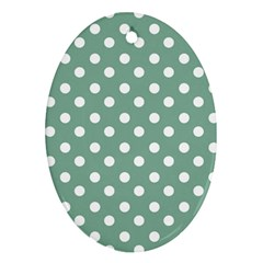 Mint Green Polka Dots Oval Ornament (Two Sides)