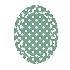 Mint Green Polka Dots Oval Filigree Ornament (2-Side)