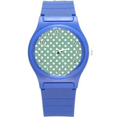 Mint Green Polka Dots Round Plastic Sport Watch (S)