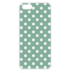 Mint Green Polka Dots Apple iPhone 5 Seamless Case (White)