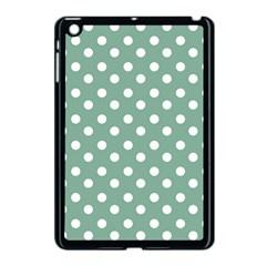 Mint Green Polka Dots Apple iPad Mini Case (Black)