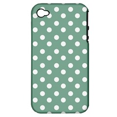 Mint Green Polka Dots Apple iPhone 4/4S Hardshell Case (PC+Silicone)