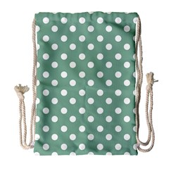 Mint Green Polka Dots Drawstring Bag (large)