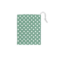 Mint Green Polka Dots Drawstring Pouches (XS)