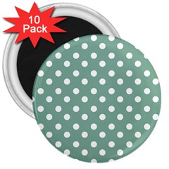 Mint Green Polka Dots 3  Magnets (10 pack)