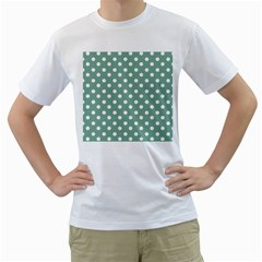Mint Green Polka Dots Men s T-Shirt (White) (Two Sided)