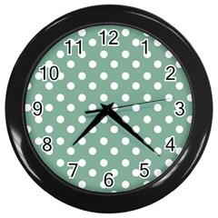 Mint Green Polka Dots Wall Clocks (Black)