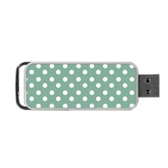 Mint Green Polka Dots Portable USB Flash (Two Sides)