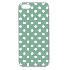 Mint Green Polka Dots Apple Seamless iPhone 5 Case (Clear)