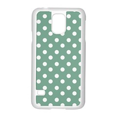 Mint Green Polka Dots Samsung Galaxy S5 Case (White)