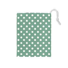 Mint Green Polka Dots Drawstring Pouches (Medium)
