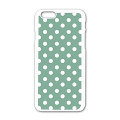 Mint Green Polka Dots Apple Iphone 6/6s White Enamel Case