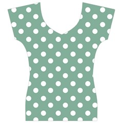 Mint Green Polka Dots Women s V-Neck Cap Sleeve Top
