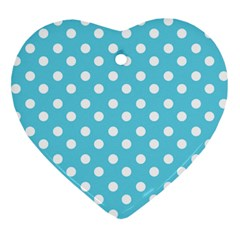 Sky Blue Polka Dots Heart Ornament (2 Sides)