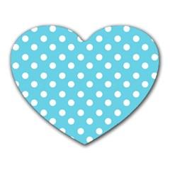 Sky Blue Polka Dots Heart Mousepads