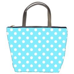 Sky Blue Polka Dots Bucket Bags