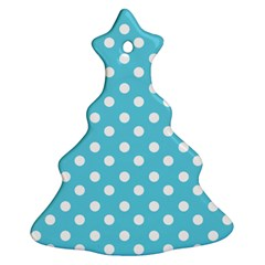 Sky Blue Polka Dots Christmas Tree Ornament (2 Sides)